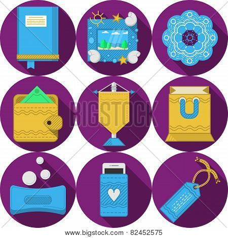 Flat purple vector icons for handmade gifts