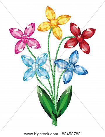 Bouquet Of Flowers Of The Gemstones Isolated Object Vector