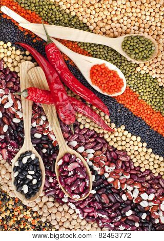 lentils, beans, peas, soybeans, legumes with spoons, textured background, top view