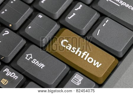 Brown cashflow key on keyboard