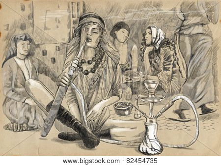 Smoking Hookah - An Hand Drawn Full Sized Illustration