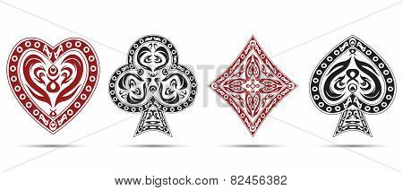 Spades, Hearts, Diamonds, Clubs Poker Cards Symbols Isolated On White Background