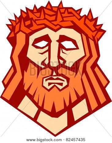 Jesus Christ Face Crown Thorns Retro