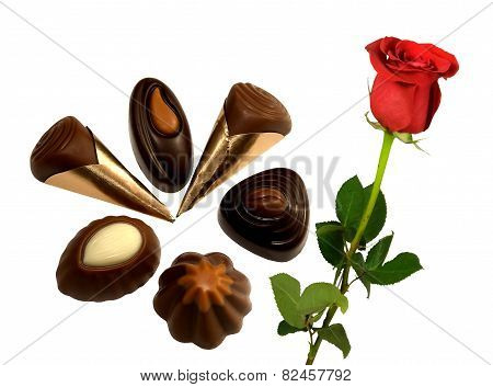 Delicious pralines with a beautiful red rose