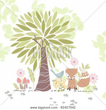 forest theme card with fox and bird