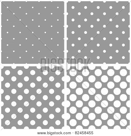 Seamless white and grey vector pattern or tile background set with big and small polka dots