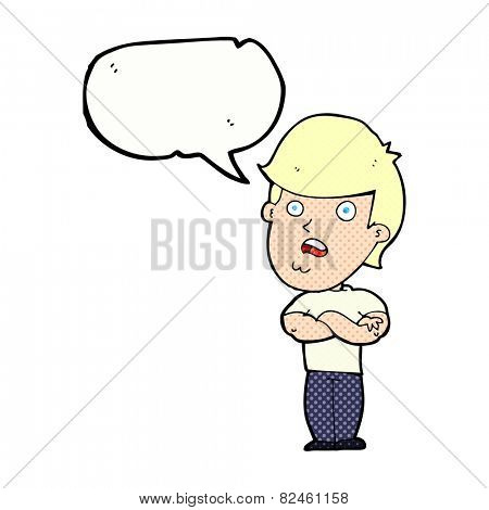 cartoon disappointed man with speech bubble