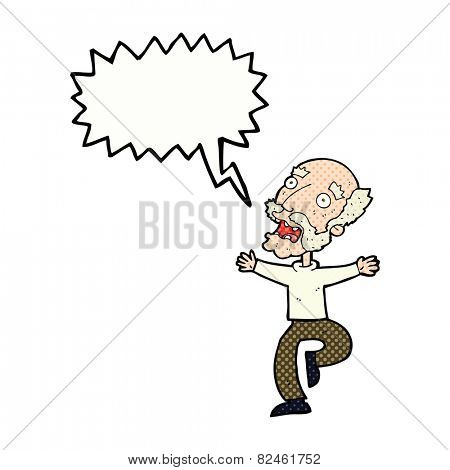 cartoon old man having a fright with speech bubble