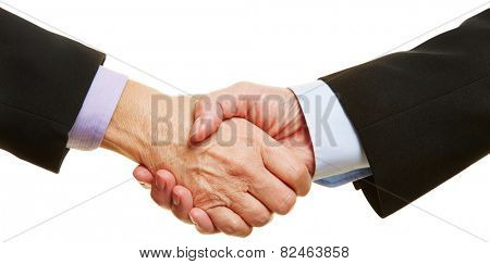 Panorama of business handshake with two elderly hands