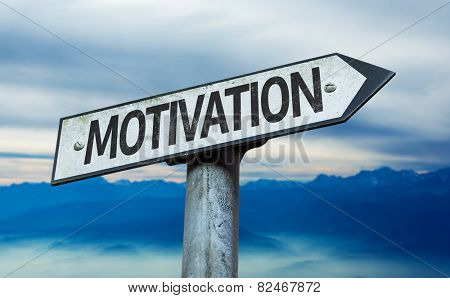 Motivation sign with sky background