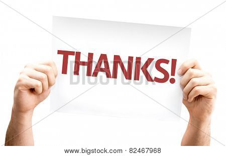 Thanks! card isolated on white background