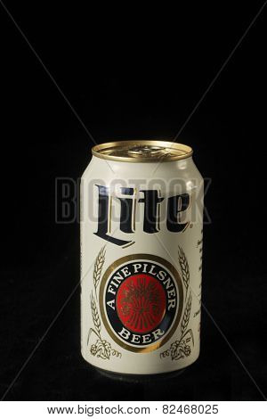 MONTREAL, CANADA - FEBRUARY 01, 2015: A white can a lite beer on black background and been recognized by The 2014 Great American Beer Festival.