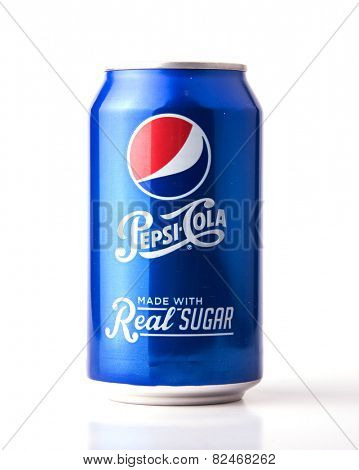 DEPEW, OK, USA - February 5th, 2015: can of Pepsi-Cola Made With Real Sugar. It is flavored with beet sugar instead of high fructose corn syrup, and it is a brand of soft drink sold by PepsiCo.