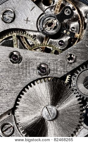 old clock gear mechanism of the background