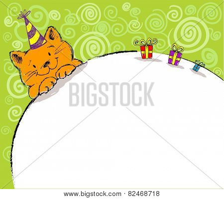 Cheerful illustrative card with the lovely red cat character