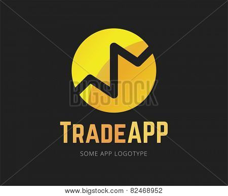 Abstract finance app vector logo template for branding and design