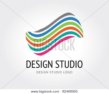 Abstract design studio vector logo template for branding