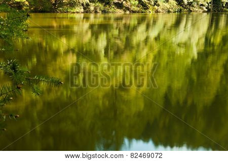 Lake With Trees Reflecting From Far Shore