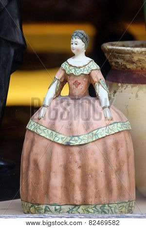 GRAZ, AUSTRIA - JANUARY 10, 2015: Old vintage doll in antique shop, Graz, Styria, Austria on January 10, 2015.