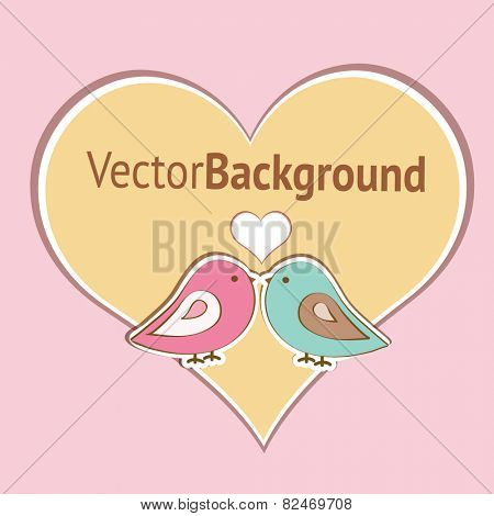 Pink and blue birdies are represented  with the contour of heart on the pink background. Flat image of vector