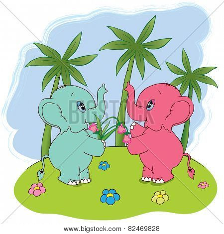 Two elephants with a nosegay. Vector  illustration