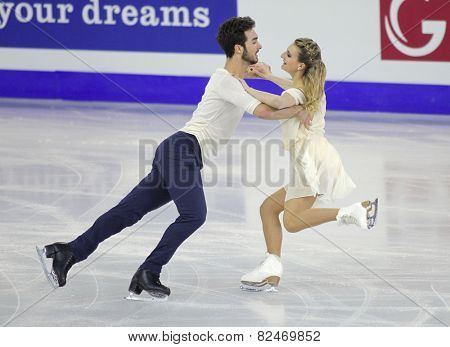 BARCELONA - DEC, 13: Gabriella Papadakis and Guillaume Cizeron from France during Pairs Ice Dance event of ISU Grand Prix of Figure Skating Final 2014 at CCIB on December 13, 2014 in Barcelona, Spain