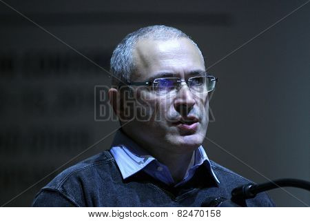 PRAGUE, CZECH REPUBLIC - OCTOBER 12, 2014: Russian former oil tycoon and political prisoner Mikhail Khodorkovsky speaks at the Forum 2000 conference in Prague, Czech Republic.