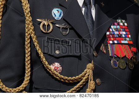 PRAGUE, CZECH REPUBLIC - MAY 9, 2013: Czech military decoration on uniform seen during the celebration of Victory Day at the Soviet War Memorial at the Olsany Cemetery in Prague, Czech Republic.