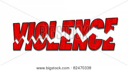 Violence word in bloody reds shattered in pieces, on white background - concept for stopping violence
