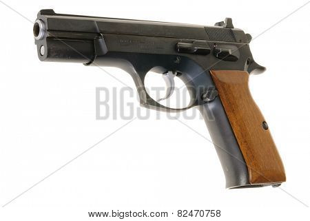 Hayward, CA - February 3, 2015: Tangfolio Brothers model TZ 75, 9mm semi-automatic pistol, isolated on white