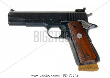 Hayward, CA - February 3, 2015: Colt Semi-automatic pistol model IV, Series 70 in .45 ACP caliber - illustrative editorial