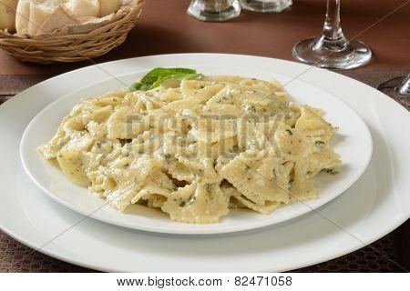 Farfalle Pasta In Pesto Sauce