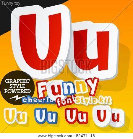 Vector font in shape of funny toys or cartoon elements. Letter U