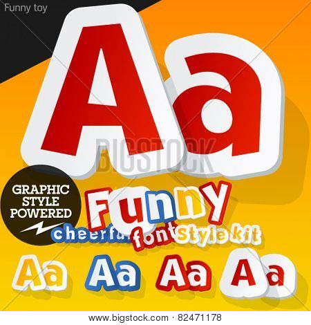 Vector font in shape of funny toys or cartoon elements. Letter A
