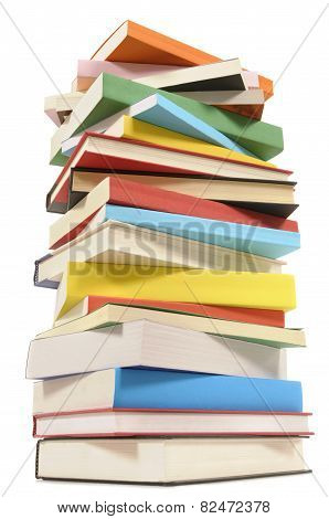 Very Tall Stack Of Colorful Books