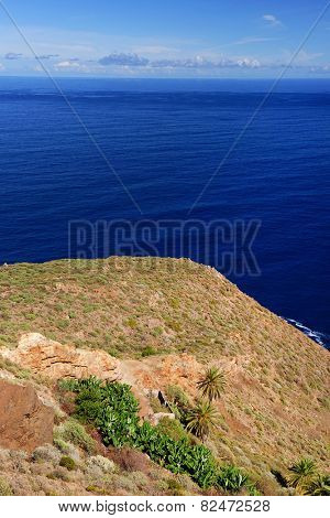 Rocky coast of La Gomera the one of the Canary Islands, Spain