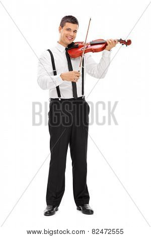 Full length portrait of a young elegant man playing a violin isolated on white background
