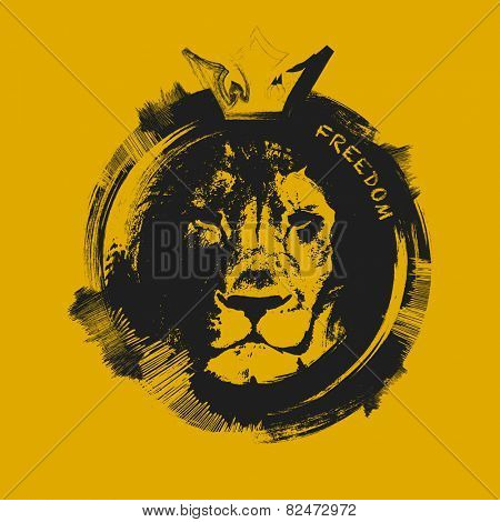 lion head. hand drawn. Grunge vector illustration