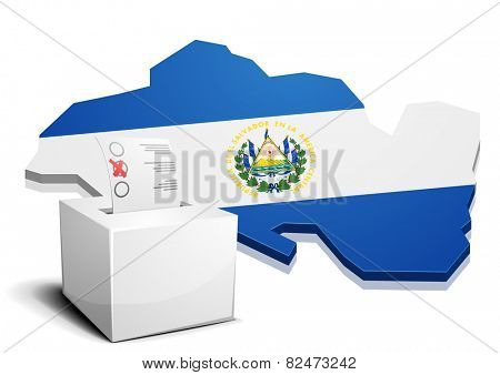 detailed illustration of a ballotbox in front of a map of El Salvador, eps10 vector