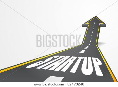 detailed illustration of a highway road going up as an arrow with Startup text, eps10 vector