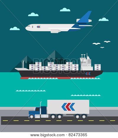 Flat Design Of Cargo Transportation Sea Air Land