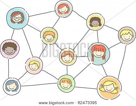 Stickman Illustration of a Relationship Graph Showing a Social Network of Kids