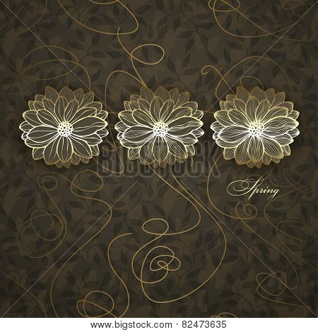 Spring, abstract floral design, vector illustration. Background with leaves and butterflies is a seamless pattern.