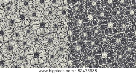 Floral seamless pattern, two variants, straight and reversing, both black over white, vector illustration