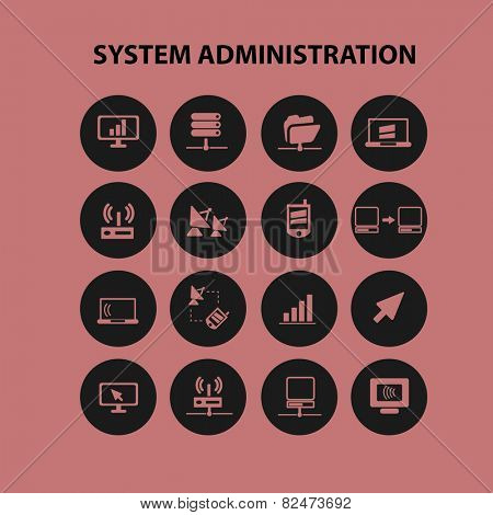 system administration, server icons, signs, illustrations set, vector