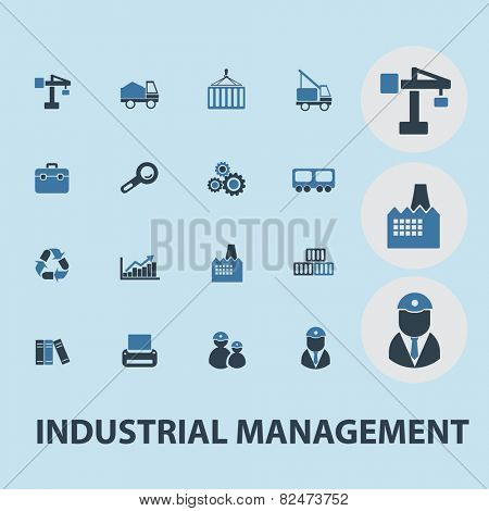 industrial management, factory, construction flat icons, signs, illustrations design concept vector set