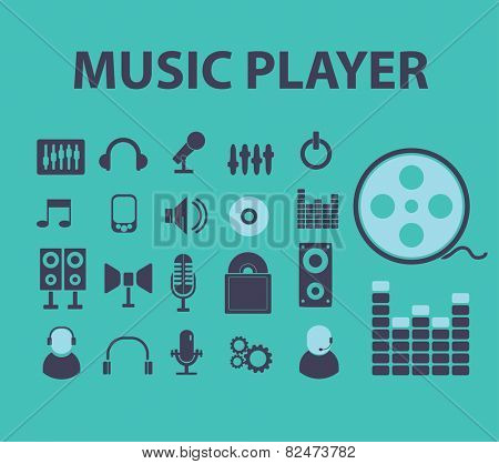 music player, audio, video flat icons, signs, illustrations design concept vector set