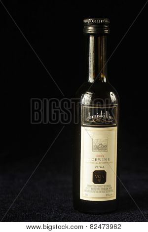 MONTREAL, CANADA - FEBRUARY 01, 2015: A bottle of Ice wine from Inniskillin, estate winery offering varietal wines and icewines from Ontario and British Columbia