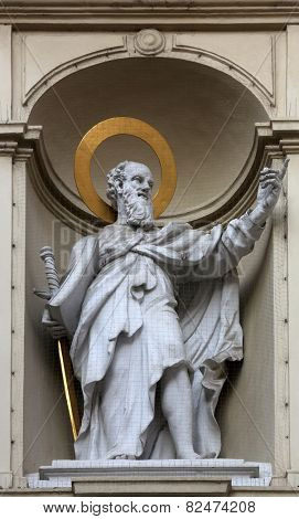 VIENNA, AUSTRIA - OCTOBER 10: St. Paul the Apostle, Church of Saint Peter in Vienna, Austria on October 10, 2014.