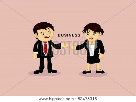 Businessman And Businesswoman Cartoon Vector Illustration
